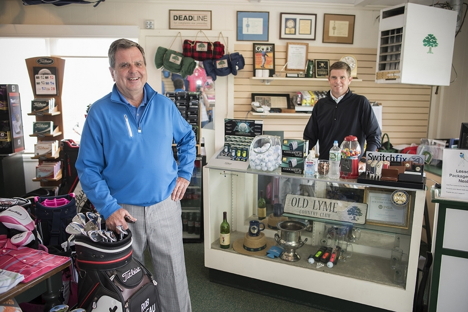 Golf Pro Rob Barbeau and Neal Nyland in the Pro Shop at Old Lyme Country Club.