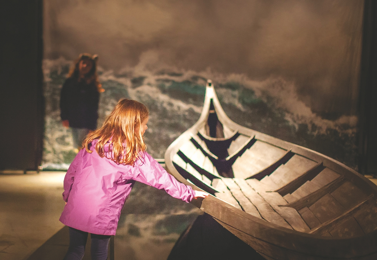 <b></b> Yes, kids are welcome to touch this replica of a Viking vessel, part of