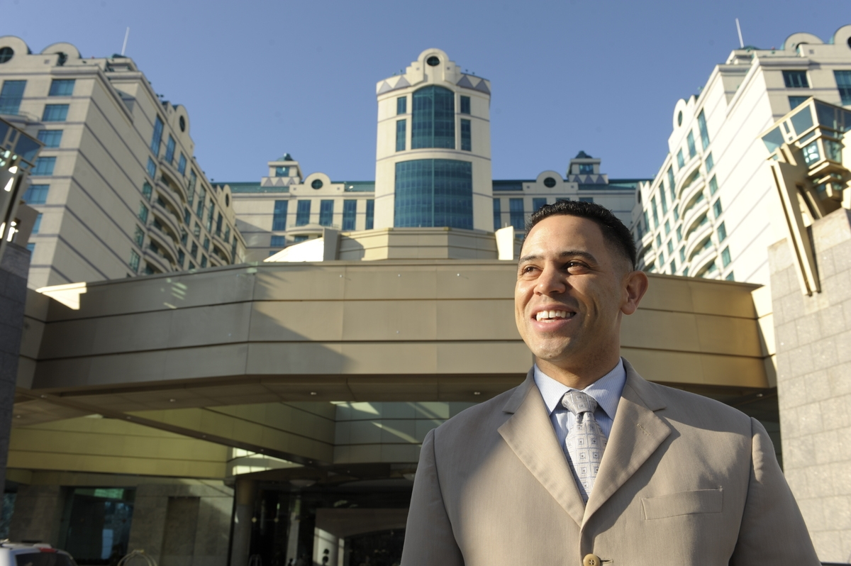<b></b> Mashantucket Pequot Tribal Chairman Rodney Butler poses for a photo outside of the tribe's Foxwoods Resort Casino on Feb. 3, 2012. Last month, the council named Butler, 41, the interim chief executive officer of Foxwoods following the sudden death of Felix Rappaport. (Sean D. Elliot/The Day)