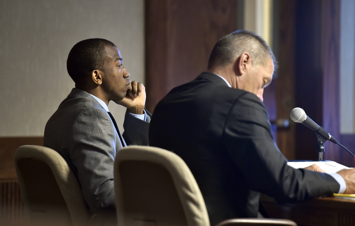 <b></b> Defendant Dante A. Hughes, left, looks on, with his attorney, Walter D. Hussey, during the first day of testimony on the fatal shooting of Joey Gingerella, in Courtroom 3 of the New London Superior Court on July 11, 2018. The jury that convicted Dante A. Hughes last month of fatally shooting Joey Gingerella outside Ryan's Pub in Groton in December 2016 might have used outside materials during deliberations in violation of the court's instructions. If the judge declares a mistrial, it could put the verdict at risk. (Tim Martin/The Day)