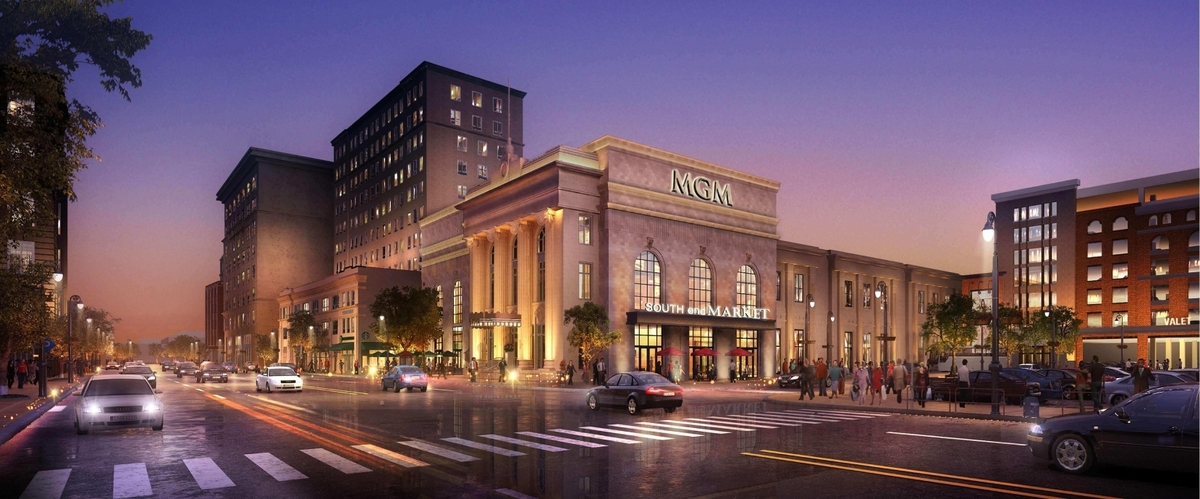 <b></b> MGM's most recent renderings for its Springfield, Mass., casino, which shows the elimination of what was supposed to be a 25-story hotel tower. This is the future view of Springfield&#x2019;s State Street and MGM Way. The finished casino is set to open Aug. 24, 2018. (Courtesy of MGM)