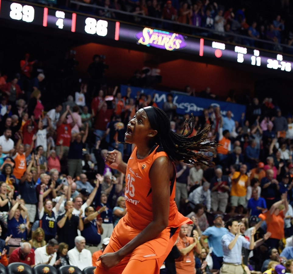 <b></b> Center Jonquel Jones celebrates after the Connecticut Sun ended their regular season by holding off the Los Angeles Sparks 89-86 on Sunday at Mohegan Sun Arena. The Sun earned a bye into the second round and will host an opponent to be determined on Thursday night. (Sean D. Elliot/The Day)