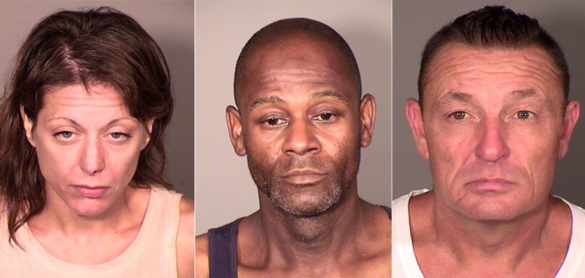<b></b> From left, Gabrielle Fox, William Garrett and William Dietz are accused of dumping the body of Lebro Mei, 36, after he had fatally overdosed, at the former Edgerton School property in New London in May. (New London Police Department)