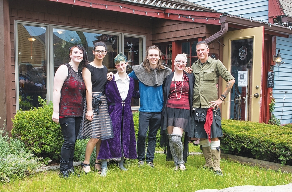 From left, the team at Skull and Moon Mystic includes Lauren Gerrish, May Pisani, Kestrel, Justin Travers, Sunshine Estar and Jaeson Davis.
