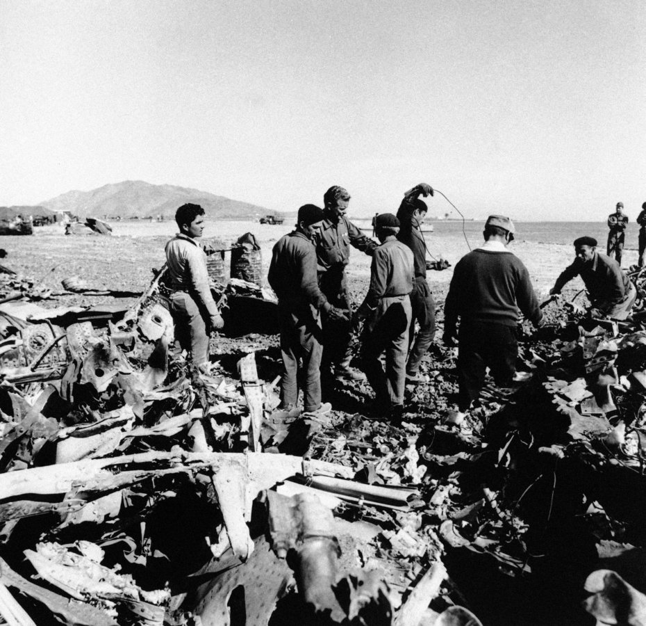 <b></b> Spanish and Americans work together sorting the tons of wreckage from the B-52/KC-135 which crashed on the coast of Southern Spain on Feb. 22, 1966. U.S. Sen. Richard Blumenthal, D-Conn., is introducing legislation that would make about 1,000 Air Force veterans, who cleaned up one of worst nuclear accidents in history, eligible for disability compensation from the Department of Veterans Affairs. (AP Photo)