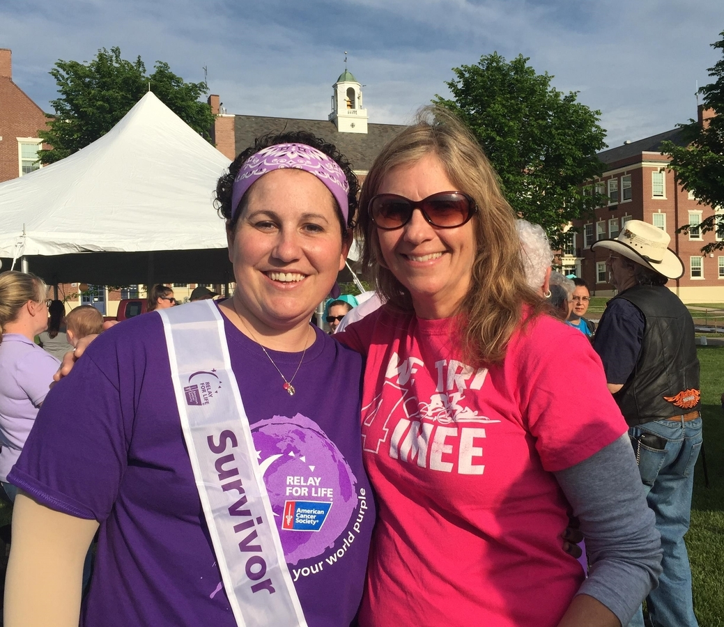 <b></b> Aimee Reed, left, is shown at the Westerly Relay 4 Life in June, 2016. On the right is Terry Hiltz. (Courtesy of Polly Chorlton)