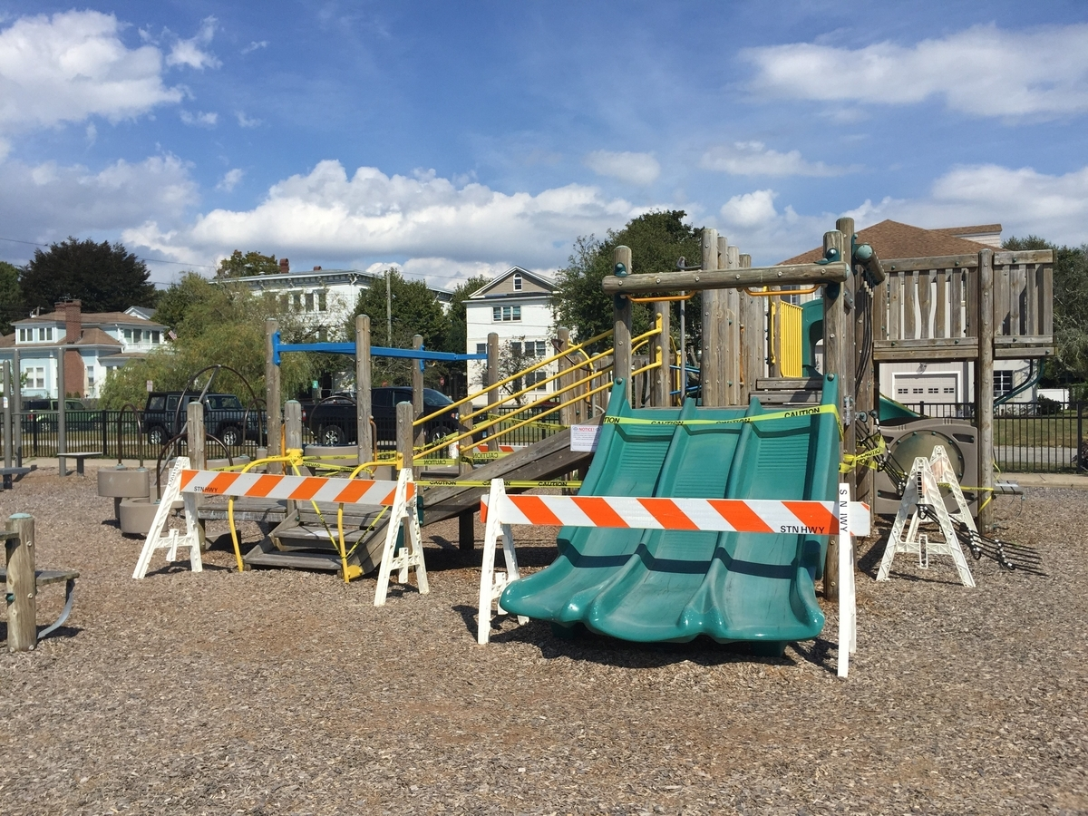 The town has closed the playscape, seen Tuesday, Sept. 4, 2018, at the Town Dock, with barricades and caution tape. (Joe Wojtas/The Day)
