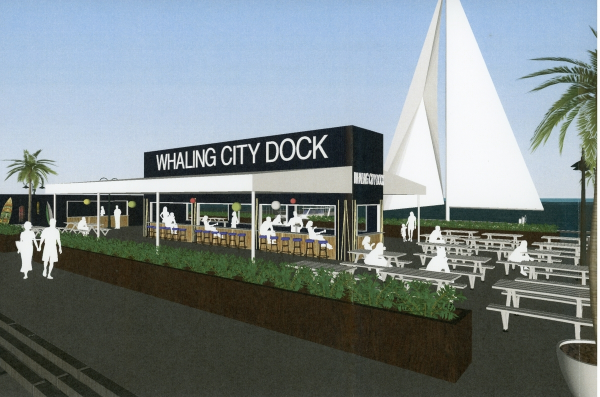 A rendering of the proposed Whaling City Dock. Restaurant Consultants Inc. President Frank Maratta is attempting to negotiate a lease with the city for space to open Whaling City Dock, a restaurant and oyster bar overlooking the water on Custom House Pier. (Courtesy of Restaurant Consultants Inc.)