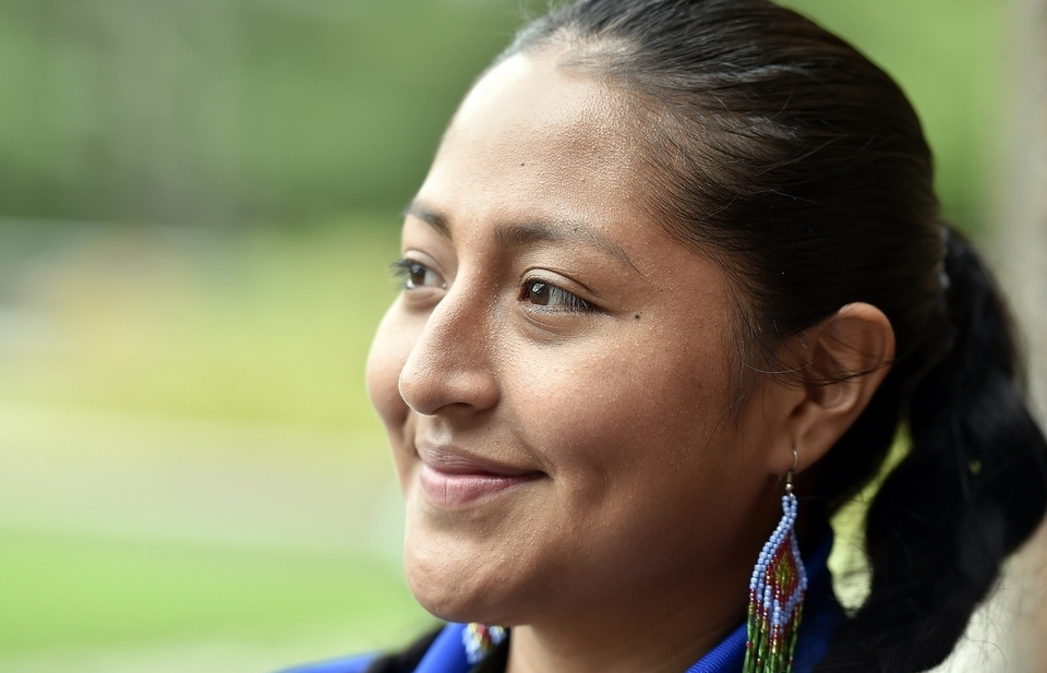 Ali Montoya Alvarado of Ledyard is seen at the Mashantucket Pequot Museum and Research Center on Friday, Sept. 7, 2018. She was arrested and being threatened with deportation to Mexico after letting her Deferred Action for Childhood Arrivals program, or DACA, status lapse for 10 days. Members of the community donated over $3,000 through a GoFundMe campaign to assist her with legal expenses. She is a part-time employee at the Mashantucket Pequot Trading Post inside the museum and works another part-time job.  (Tim Martin/The Day)