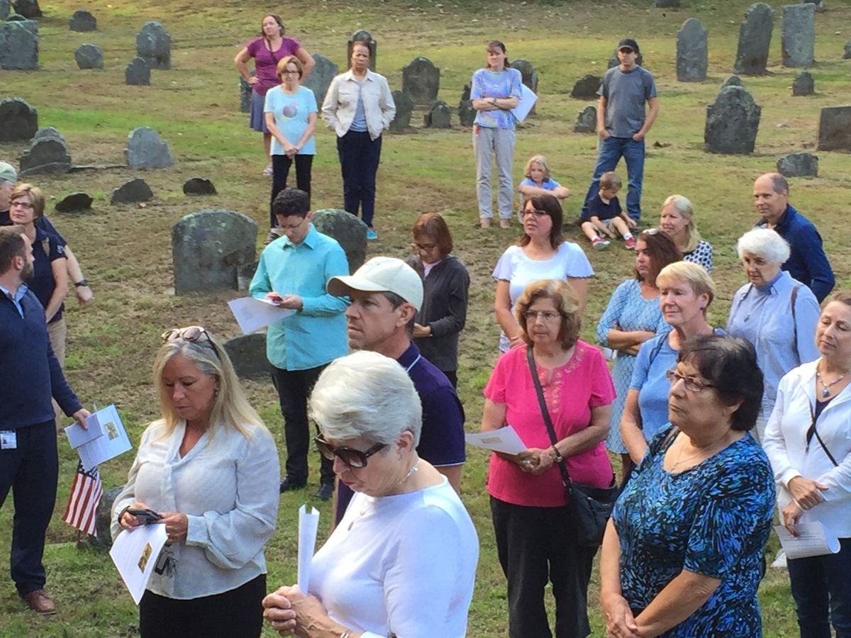 <b></b> About 40 people gathered Thursday, Sept. 20, 2018, at the historic Norwichtown colonial burying ground for a rally in opposition to a proposed Burger King at nearby 61, 63 and 65 Town St. in Norwich. A public hearing on the project continues at 7 p.m. Tuesday at Norwich City Hall. (Claire Bessette/The Day)