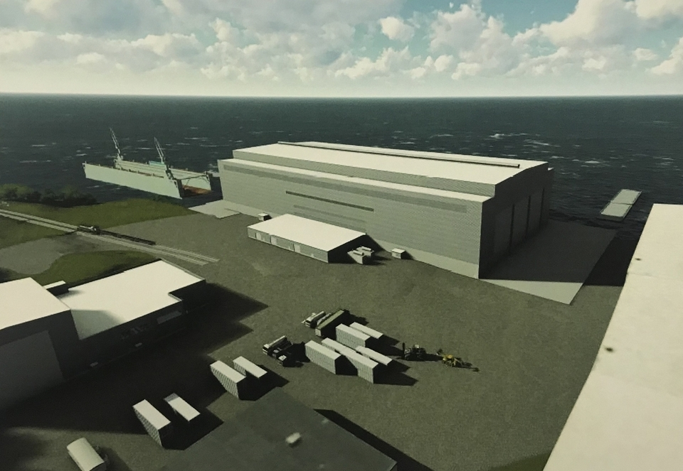 A rendering of the new assembly facility, where a new class of ballistic submarines will be built, part of the $850 million in capital improvements Electric Boat plans to make at its Groton headquarters. (Electric Boat)