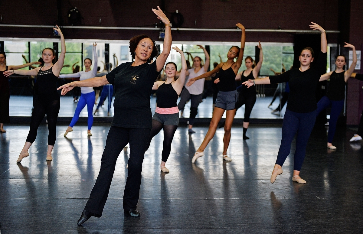<b></b> Virginia Johnson, artistic director of the Dance Theatre of Harlem, conducts a master class with dance students at Connecticut College on Friday, Sept. 28, 2018, in the Meyers Dance Studio. Johnson is a founding member of the company, which has a performance Saturday night at Conn's Palmer Auditorium.  (Sean D. Elliot/The Day)