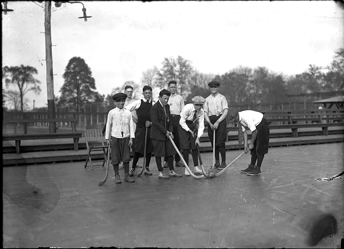 A boys' field hockey team at Colt Park in Hartford. (Courtesy of the Hartford Public Library)