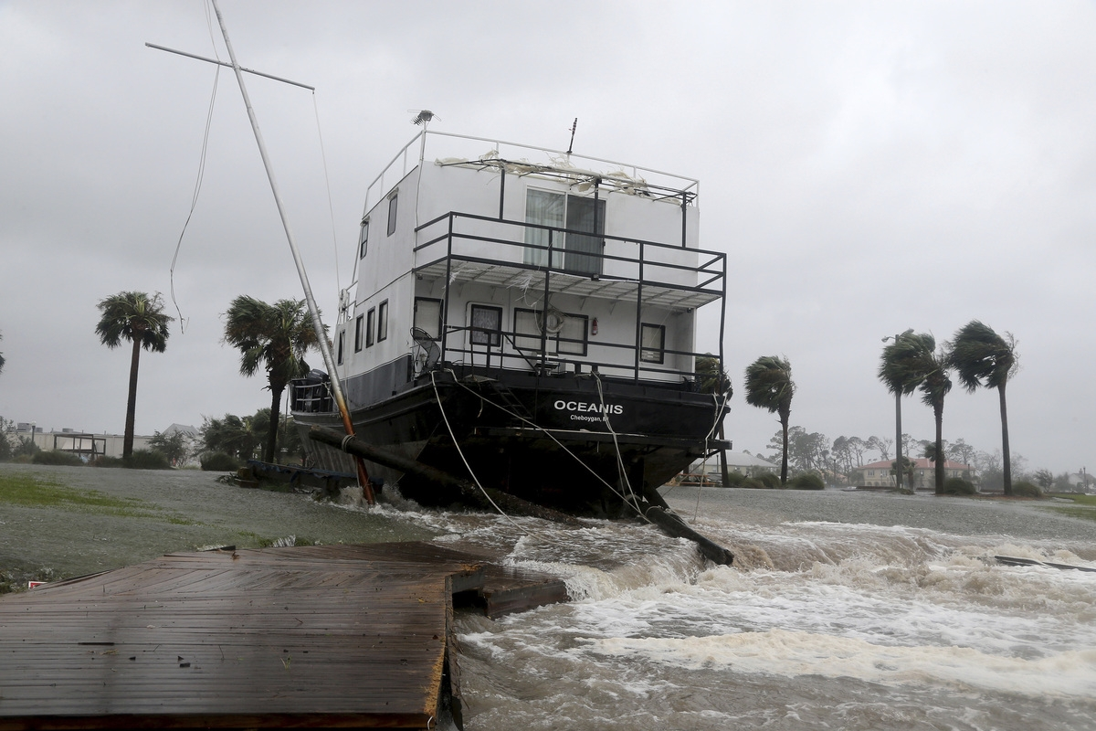 <b></b> The Oceanis is grounded by a tidal surge at the Port St. Joe Marina, Wednesday, Oct. 10, 2018 in Port St. Joe, Fla. Supercharged by abnormally warm waters in the Gulf of Mexico, Hurricane Michael slammed into the Florida Panhandle with terrifying winds of 155 mph Wednesday, splintering homes and submerging neighborhoods. (Douglas R. Clifford/Tampa Bay Times via AP)