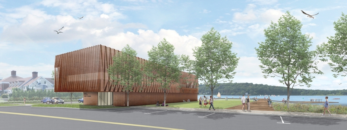 <b></b> An artist's rendering shows the view from&#xa0;Route&#xa0;27 of the Hart Perry Boathouse and the Mystic River Boathouse Park. (Courtesy of the Mystic River Boathouse&#xa0;Park Implementation Committee)
