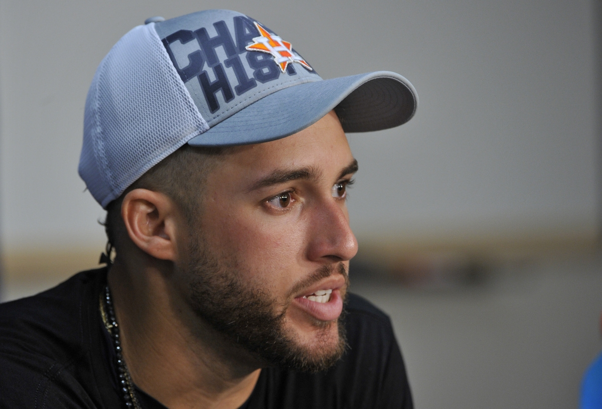 <b></b> Houston's George Springer, a former No. 1 pick out of UConn, will return to New England on Saturday night to lead the Astros against the Red Sox in Game 1 of the ALCS at Fenway Park in Boston. (AP Photo/Phil Long)