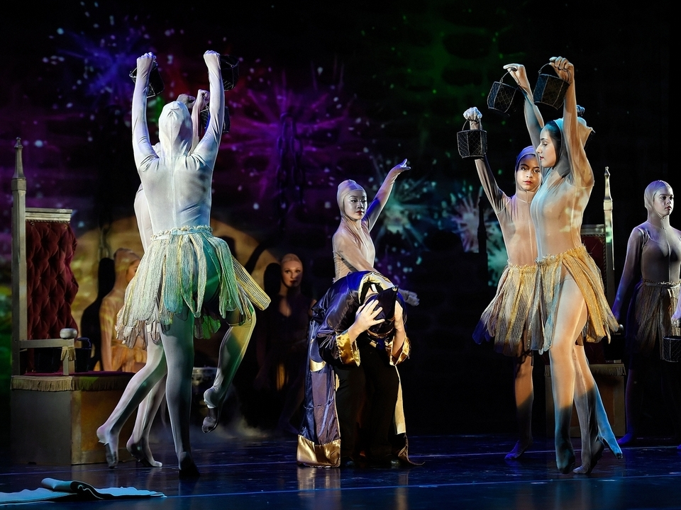 Dancers dressed as magically animated brooms dance around Gavin Seymour, performing as the sorcerer's apprentice, during the Eastern Connecticut Ballet's rehearsal of its annual Ballet Spooktacular show Friday, Oct. 12, 2018, at The Katherine Hepburn Performing Arts Center in Old Saybrook.  (Sean D. Elliot/The Day)