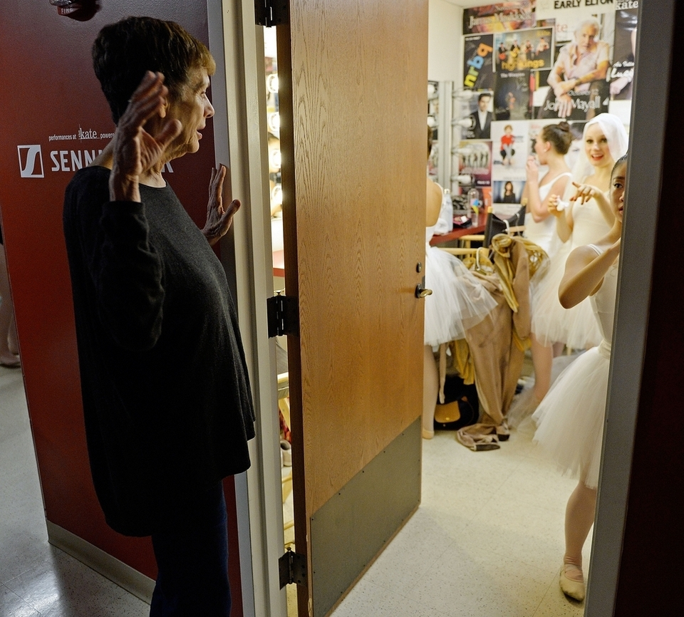 Gloria Govrin, artistic director with the Eastern Connecticut Ballet, gives some instructions to her dancers backstage between rehearsing scenes for their annual Ballet Spooktacular show Friday, Oct. 12, 2018, at The Katharine Hepburn Performing Arts Center in Old Saybrook.  (Sean D. Elliot/The Day)