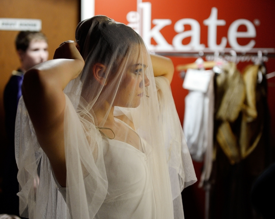 Clara Franklin secures her ghost veil backstage as dancers with the Eastern Connecticut Ballet rehearse their annual Ballet Spooktacular show Friday, Oct. 12, 2018, at The Katharine Hepburn Performing Arts Center in Old Saybrook.  (Sean D. Elliot/The Day)