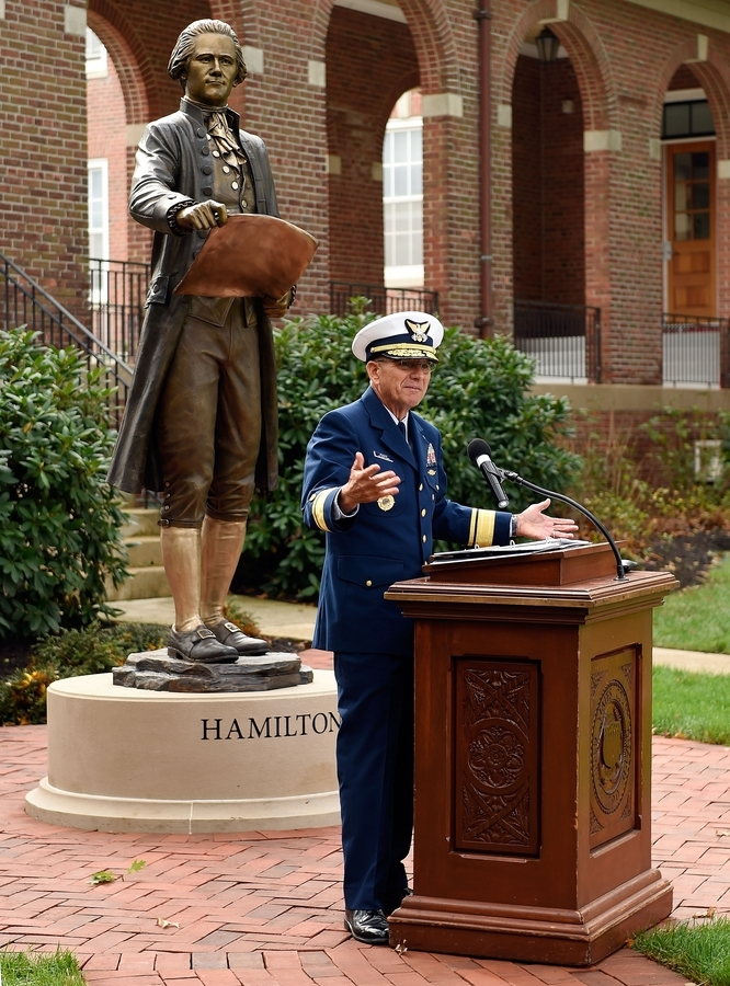 U.S. Coast Guard Academy Superintendent Rear Adm. James E. Rendon gives his remarks at the unveiling of the academy Class of 1963's gift, a statue of Coast Guard founder Alexander Hamilton, on Friday, Oct. 12, 2018, in front of Hamilton Hall at the academy in New London, Conn.  (Sean D. Elliot/The Day)
