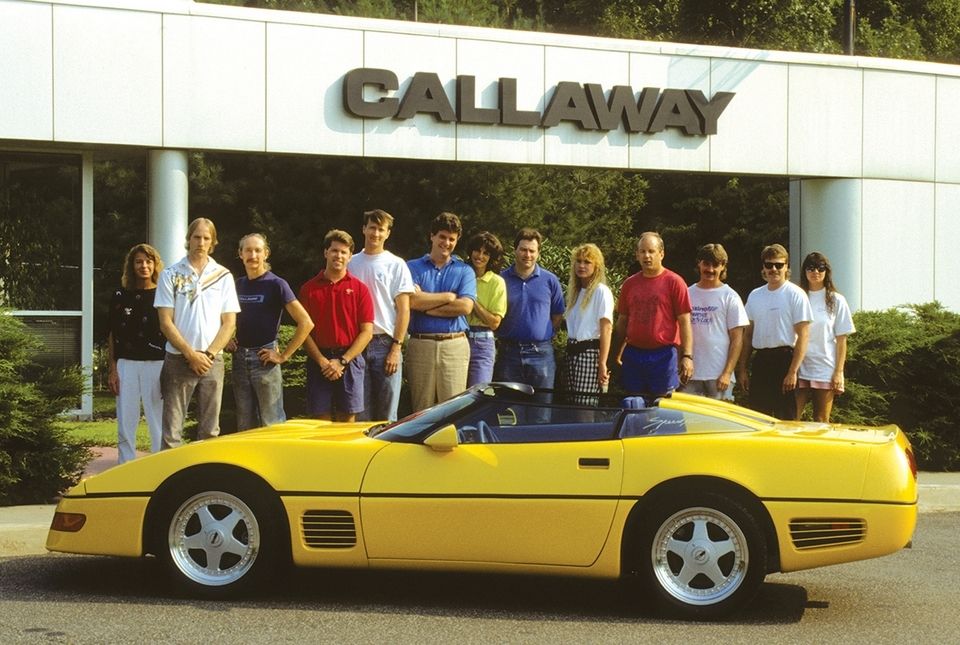 The Callaway team stands behind a 1991 Callaway Twin Turbo Speedster. The car was one of just 10 built. Reeves Callaway is the sixth person from left, in the blue polo shirt.