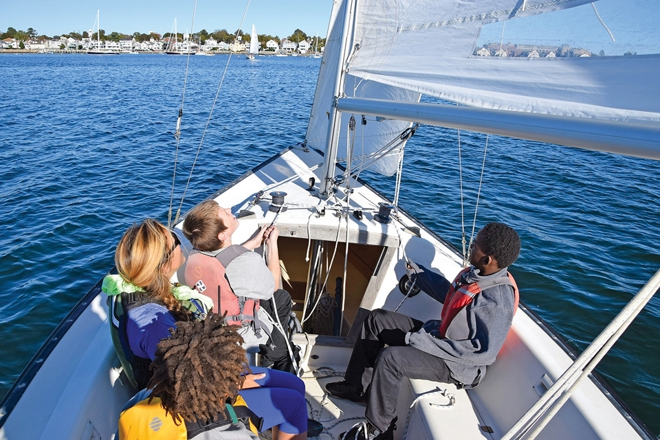 New London STEM Magnet Middle School students enjoy an afternoon sail in Stonington with the New England Science & Sailing Foundation.