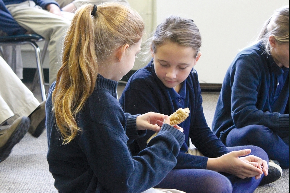 Students at The Unquowa School in Fairfield learn about Native food and lifeways during a presentation by the Akomawt Educational Initiative, a Connecticut-based indigenous learning project.