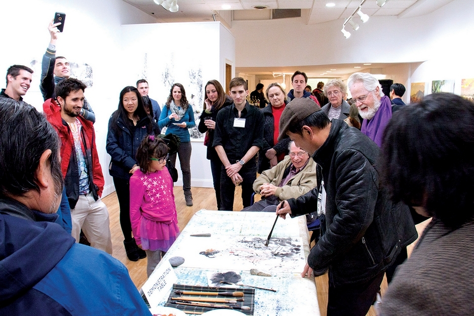 The Marquee Gallery International Artist Exhibition featured a Chinese watercolor demonstration in December 2016.