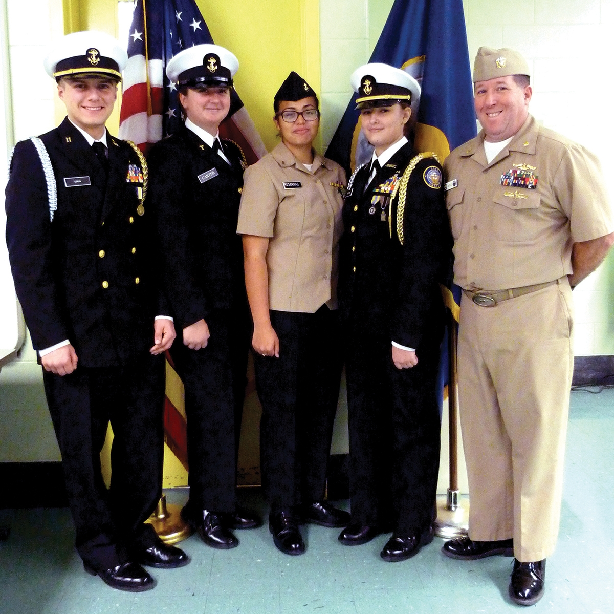 The Navy Junior Reserve Officer Training Corps at New London High School includes, from left, Administrative Officer Nick Costa, Chief Petty officer Gwen Carter, Seaman Apprentice Nathalie Rosa Rivas Colon and Executive Officer Morgan Slusarz, under the guidance of Lieutenant Commander Carl Matteucci (Ret.).