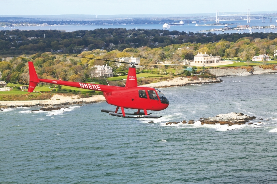 Helicopter tours offer a beautiful way to see the mansions of Newport.